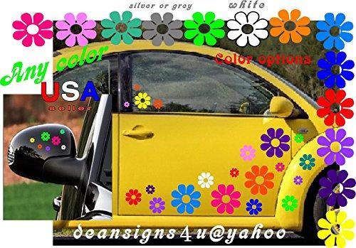 Boat Flowers (40 Car Flowers Daisy Bright Rainbow SET sticker Decals VW Boat Golf Cart Kayak)