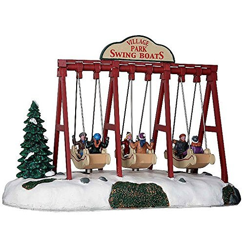 Lemax 64063 Swing Boats, Caddington Village Collection, Kids on Village Park Swingboats Polyresin Table Accent, X'mas Decor/Gift/Collectible, Excludes 3 AA-Size 1.5V Batteries, 7.48