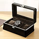 Wooden Watches Box 3 Slots Watch Jewelry Display Storage Boxes With Glass Top And Removal Storage Pillows With Lockable Keys,B