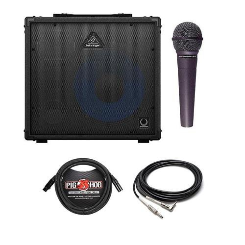 Behringer Ultratone KXD15 600-Watt PA System and Keyboard Amplifier with 15in Speaker - Bundle with Straight to RA Guitar Cable 5', 15' 8mm XLR Mic Cable, Nady SP5 Sp-5 Starpower Series Handheld Mic