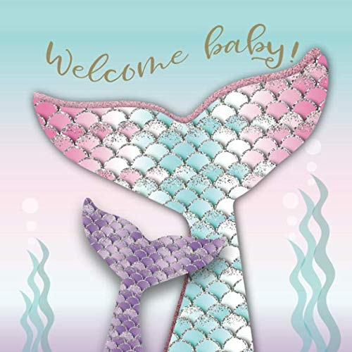 Welcome Baby: Mermaid Baby Shower Guest Book with Message, Wishes & Advice for Parents + BONUS Gift Tracker Log + Keepsake Pages | Rose Pink Seafoam Purple Under The Sea -