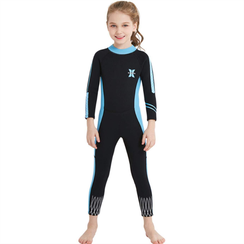 Blackblueee Medium 2.5mm Girls WetsuitKids Siamese LongSleeved Snorkeling Swimwear