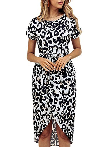 KIRUNDO Women's Summer Casual Dress Round Neck Short Sleeves Strip Geometric Split Maxi Beach Dress with Belt (Medium, Leopard)