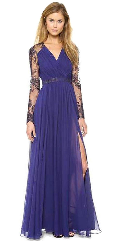 Aimerfeel vestido de encaje de color azul oscuro de manga larga ...