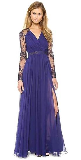 Aimerfeel Vestido De Encaje De Color Azul Oscuro De Manga Larga Vestido De Fiesta Por La Noche A Pie Tamaño 38 40