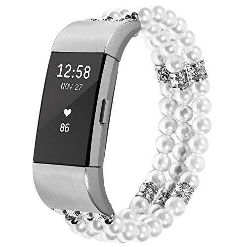 For Fitbit Charge 2 Bands, Imymax Women Replacement Dressy Artificial Pearl Elastic Handmade Bracelet/Wrist band for Fitbit Charge hr 2 Smart Watch (Pearl White) by IMYMAX