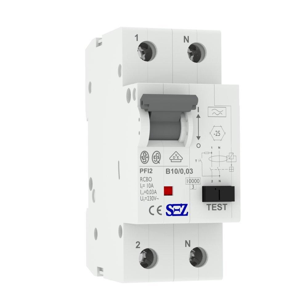 SEZ FI/LS B10 30mA 2p 10kA RCBO VDE FI/LS-Schalter 0090611 Kombi ...