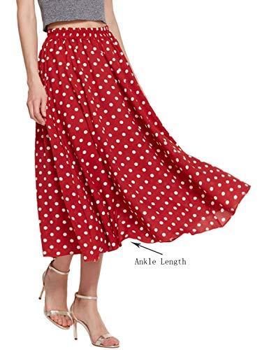 Amormio Women's Cute Polka Dot Printed Chiffon A-Line Swing Boho Long Maxi Pleated Skirts (Charming Red, Large) ()