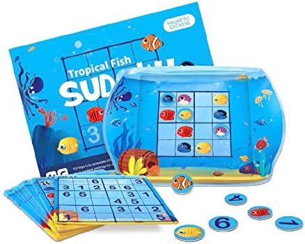 KingMade Tropical Fish Sudoku Magnetic Board Games Magnetic Fishing Game Preschool Learning Fishing Toy