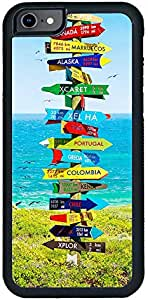 Decalac iPhone 7 Case, Design Of A Funny Direction Sign To Different Countries, Multi Color