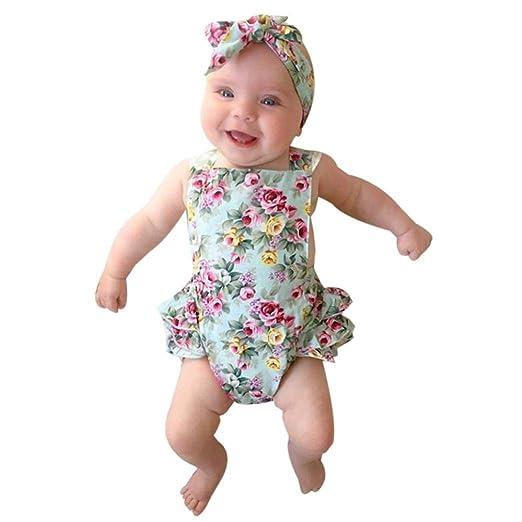 909f92ef71c Amazon.com  Kids Baby Girls Sleeveless Floral Lace Romper Playsuit  Headband  Clothing