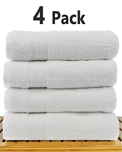 TowelPro Luxury Premium Soft 100% Cotton 700 GSM Highly Absorbent Machine Washable Multi-Purpose Hotel, Spa, Home, Bath Towels Set of 4 Extra Large 27'' X 55'' (White) by TowelPro