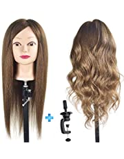 "ErSiMan Female Cosmetology Mannequin Head with 90% Human Hair 20"" Manikin Head for Brading Hair Hairdressing Training Head Doll Head with Clamp"
