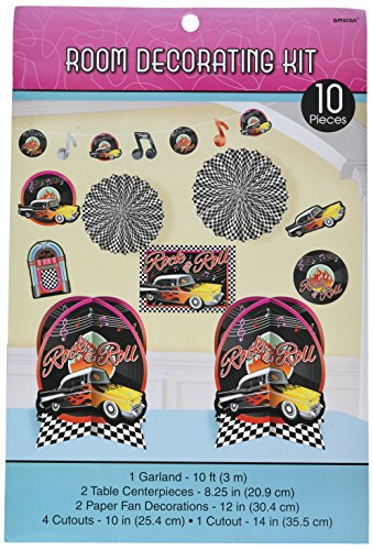 amscan Nifty 50's Theme Party Rock & Roll Decorating Kit (10 Piece), Multi Color, 15.7 x 10 -