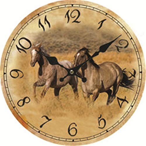 Horses Running Decorative Wall Clock for Women Men Teen Girls Boys Silent Wood Clock 14 Inches ()