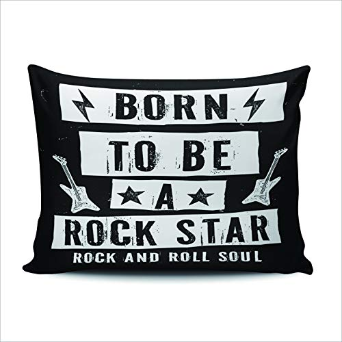 WEINIYA Bedroom Custom Decor Born to Be a Rock Star Rock and Roll Soul Throw Pillow Cover Elegant Design One Side Printed Patterning Queen 20x30 -