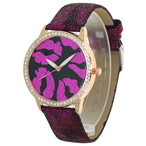 Glitter Kiss Lips Print No Hour Pointers Dial Twinkle Leather Strap Lady Watches 12 Edges and Corner Convex Prism Crystal Gold Case Women Japan Quartz Analog Stylish Casual Dress Wristwatch Girl Gift