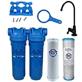 Chlorine Sediment Chloramine Lead Water Filter, KleenWater KW1000 Chemical Removal Under Sink Drinking Water Filtration System, Black Faucet, Two Filter Cartridges (Black)