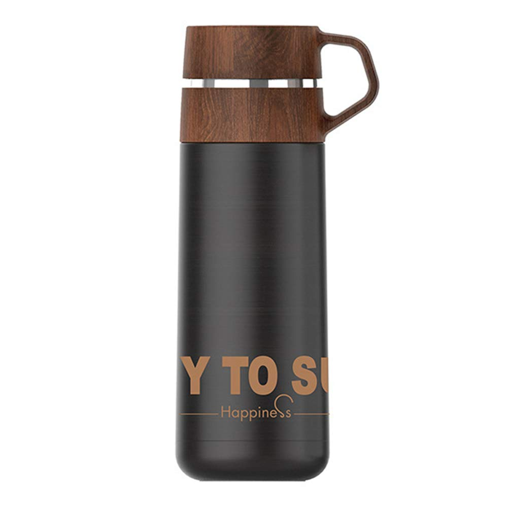 BEIGU Portable Travel Outdoor Vacuum Flask Water Bottle Stainless Steel Thermos Cups with Wooden Cup Lid for Kid Adult Girl Sports Camping Birthday
