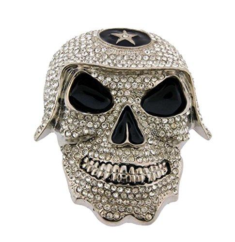 Skull Belt Buckle Skeleton Silver Rhinestones ()