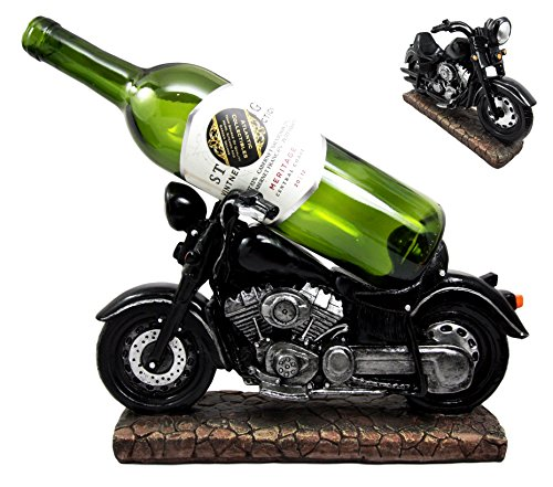 Atlantic Collectibles Vintage Black Chopper Motorcycle Bike Wine Holder Figurine 12.25