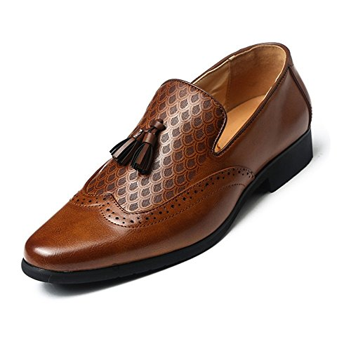 - Sunny&Baby Men's Business Dress Shoes Breathable PU Leather Embellished Tassel Slip-on Oxfords for Gentlemen Abrasion Resistant (Color : Brown, Size : 6.5 MUS)