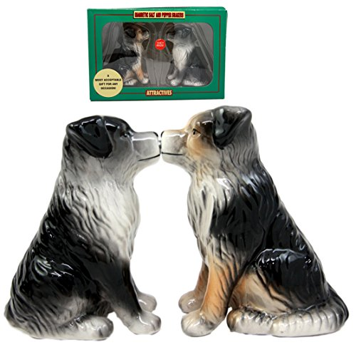 Atlantic Collectibles Dog Australian Shepherd Salt & Pepper Shakers Ceramic Magnetic Figurine Set (Australian Shepherd Figurine)