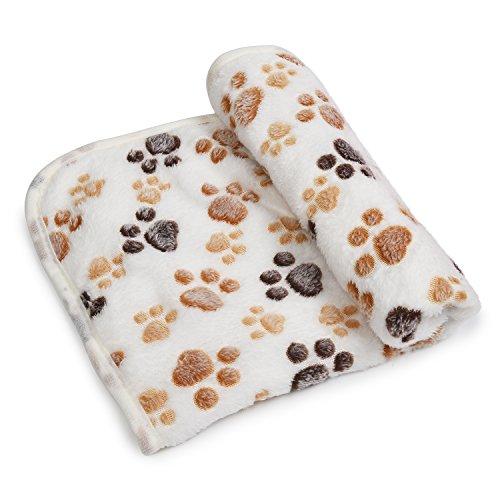 kiwitatá Super Soft Pet Dog Blanket Coral Velvet Paw Print Dog Beds Cover Blanket for Puppy Cat(L) - White Dog Blanket