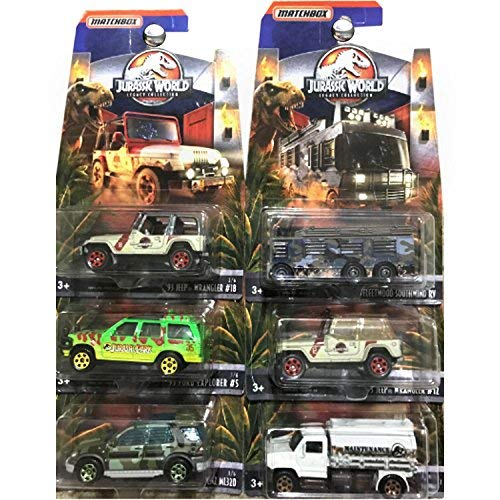 MATCHBOX JURASSIC WORLD DIE-CAST SET OF 6 LEGACY COLLECTION, JEEP WRANGLER, FORD, MERCEDES (Jurassic Park Car)