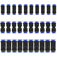 YOTINO 30 pcs Straight Push Connectors Plastic Quick Release Connectors Air Line Push to Connect Fittings for 1/4 5/16 3/8 Tube (Two Way)