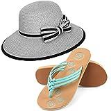 Aerusi Women's Panama Styled Woven Straw Hat and Foam Sandals Bundle Set Flip-Flop, Grey, USA Women's Shoe Size 7 Regular US