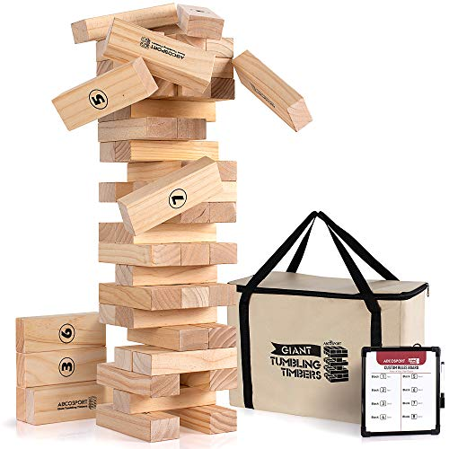 Giant Tumbling Timbers Tower Game - 56 Pieces Jumbo Wooden Blocks - Floor, Outdoor, Backyard & Lawn Games for Kids & Adults - Quality Pine Wood - Rounded Edge Blocks - Includes Carry Bag & Score Board ()