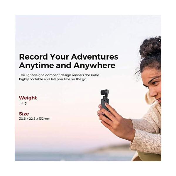 FIMI Palm Stabilizzatore cardanico a 3 assi tascabile con fotocamera intelligente 4K, obiettivo ultra grandangolare 128 °, 120g, microfono incorporato e microfono esterno supportati 3 spesavip