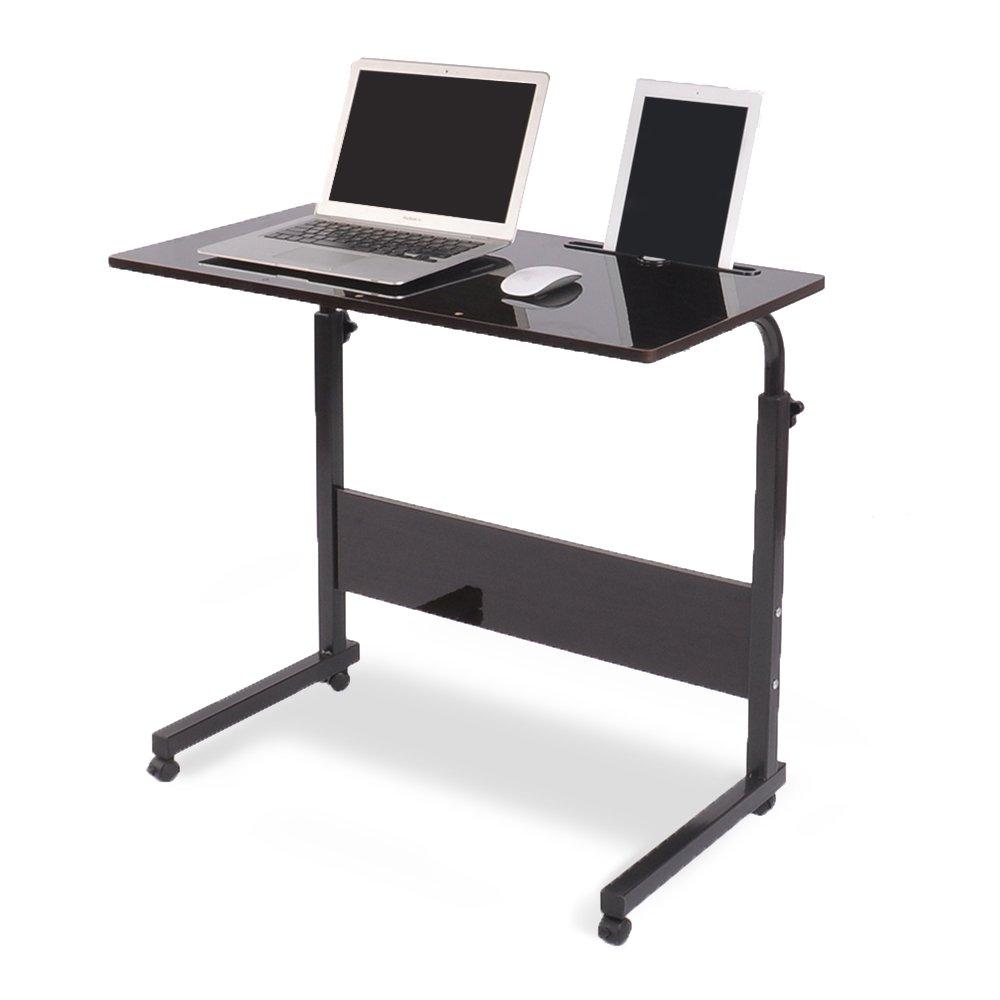 DlandFurniture Mobile Side Table 31.5 Inches Tablet Slot & Wheels Mobile Laptop Computer Desk Adjustable Movable Laptop Computer Stand for Bed Sofa, Black BHUS-05#3-80BK