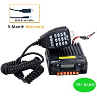 QYT KT-8900R Tri-Band Mini Base VHF/220-270mhz(1.25M)/UHF Amateur (HAM) Free Programming Cable