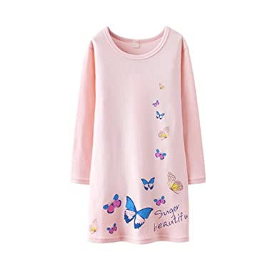 3e1a74f98998 BAIYIXIN Girls Kids Organic Cotton Nightgown Sleepwear Dress Soft Home  Dress Autumn Long Sleeve Soft Wear