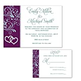 100 Wedding Invitations Rhinestone Diamond Teal Purple Design + Envelopes + Response Cards Set