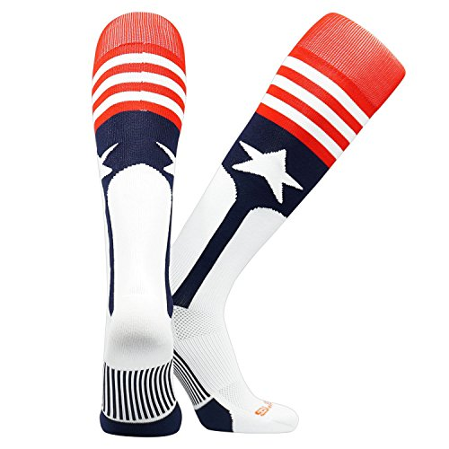 - Swanq Stars and Stripes USA Baseball Stirrup Socks Made by TCK (X-Large (USM 12-15, USW 13+))