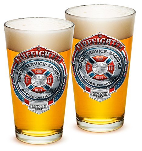Pint Glasses - Firefighter Gifts for Men or Women - Fire Honor Service Sacrifice Chrome Badge Beer Glassware - Beer Glasses with Logo - Set of 2 (16 Oz)