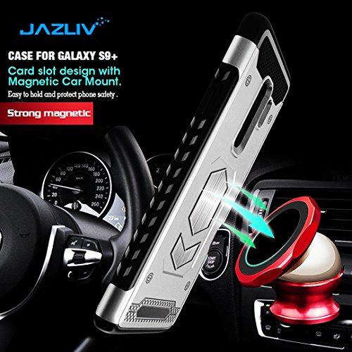 Jazliv [Gun Metal Series] Heavy Duty Protector [Wireless Charging Ready]+[Magnetic Car Mount Ready] with Slim Card Holder (Wallet), Raised TPU for Screen Protection (Silver) Compatible with Galaxy S9 by JazLiv (Image #1)