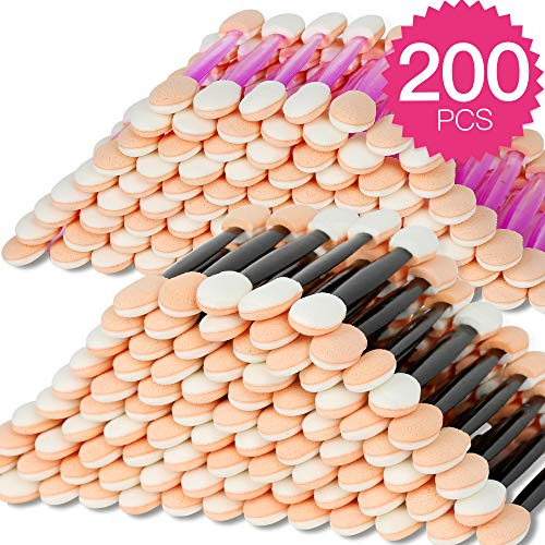 200 Pcs Disposable Eyeshadow Applicator Brushes Teenitor Dual End Sponge-Tipped Oval Eye Shadow Brush Makeup Better Apply Tool Disposable Eye Shadow Applicator