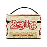 Happy Chinese New Year 2018 Of The Dog Travel Makeup Toiletry Organizer Case Cosmetic Bag