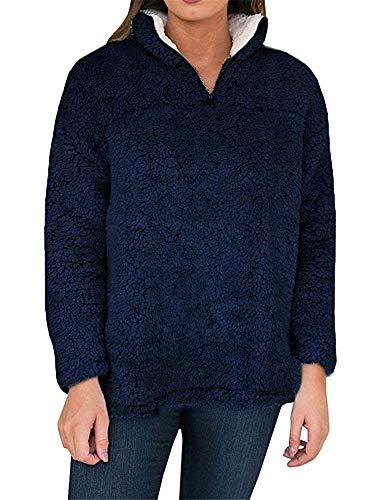 YOMISOY Womens Sherpa Pullovers Long Sleeve Fleece 1/4 Zip Casual Sweatshirt Tops (Large, (Zip Long Sleeve Pullover Top)