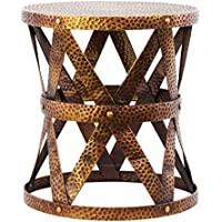UTC14203 Metal Round Accent Table/Stool with Industrial Lattice Girder Design and Round Base SM Dimpled Coated Finish Antique Gold
