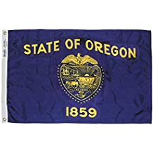 Oregon State Flag 3x5 ft. Nylon SolarGuard Nyl-Glo 100% Made in USA to Official State Design Specifications by Annin Flagmakers.  Model 144460