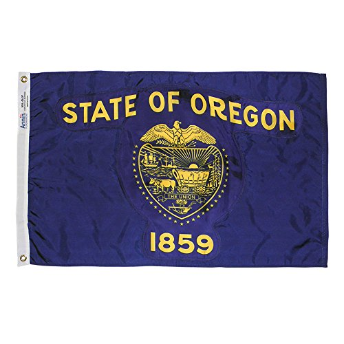 Annin Flagmakers Model 144480 Oregon State Flag Nylon SolarGuard NYL-Glo, 5x8', 100% Made in USA to Official Design Specifications