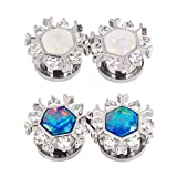 Qmcandy 4pcs 1/4'' Stainless Steel Snowflake Edge Blue White Opal Ear Gauges Piercing