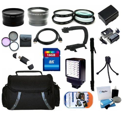 (Advanced Accessory Kit Include Canon BP-808 Replacement Battery + Replacement Charger + 16GB SDHC Memory + Reader + Wide Angle Lens + Telephoto Lens + Filter Kit + Close UP Lens Kit + Video Light + Video Bracket + HDMI + Monopod + Deluxe Case + Mini Tripod + LCD Screen Protectors + Digi Pro Cleaning Kit For Canon VIXIA HF G10 HFG10 Flash Memory Camcorder)