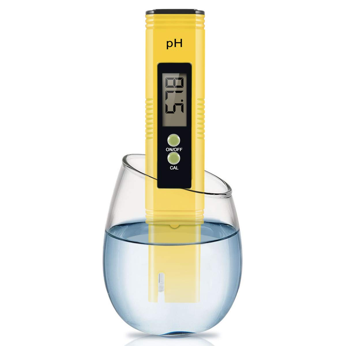 Digital PH Meter, Wellcows PH Meter 0.01 PH High Accuracy Water Quality Tester with 0-14 PH Measurement Range for Household Drinking, Pool and Aquarium Water PH Tester Design with ATC (2019-Yellow)