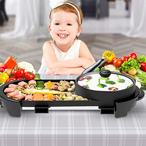 Uttiny Portable Electric Grill, 2000W Electric Indoor and Ourdoor Shabu Shabu Hot Pot with Barbecue Medical Stone Non-Stick Pan for 2-12 People Gatherings by Uttiny (Image #7)